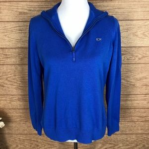 Vinyard Vines Quarter Zip Blue Sweater